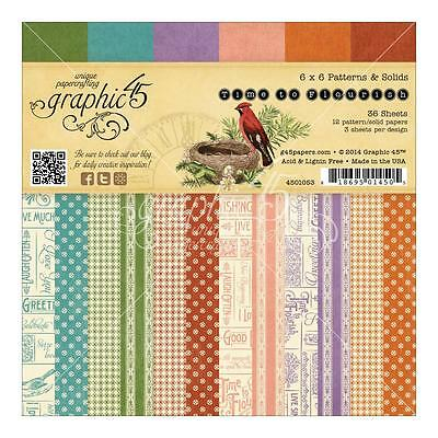 Graphic 45 TIME TO FLOURISH 6x6 Paper Pad Scrapbooking 36 Double Sided Sheets