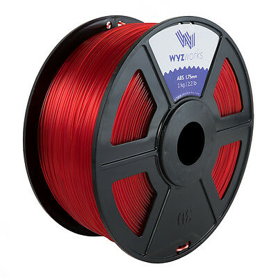 WYZwork 3D Printer Premium ABS Filament 1.75mm 1kg/2.2lb - Translucent Red
