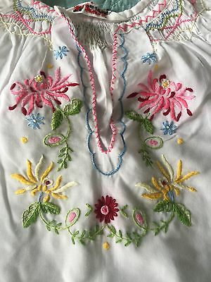 VTG Daffodil Child's Shirt SZ 12 Hand Embroidered Floral Jacoby Blouse 60's EUC