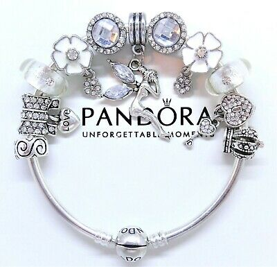 Authentic Pandora Silver Charm Bracelet WHITE LOVE ANGEL HEART European Charms.