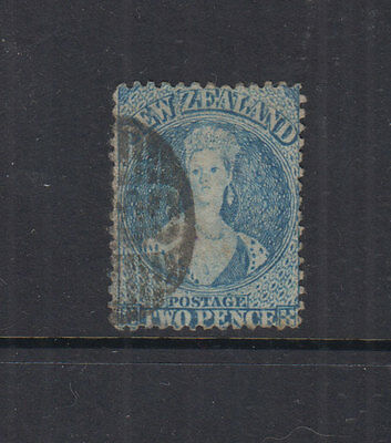 NZ 1862 2d Blue CHALON -SCARCE p13- wmk star-SG72 Cat £80- OTAGO BN cancel- FU
