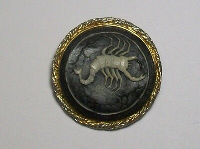 Vintage Rare Old Scorpion Cameo Pin Brooch Black & White Neat Piece!!!!