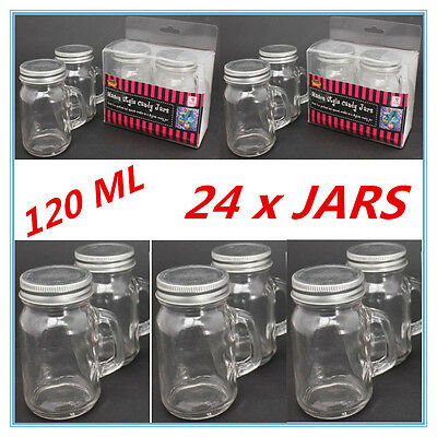 24 X Mini Small Candy Lolly Mason Jars 120Ml With Handle Silver Lid Party Even A