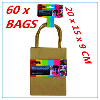 60 X Small Craft Diy Brown Gift Bags With Handle - Party, Gift, Wrap, Wrapping A