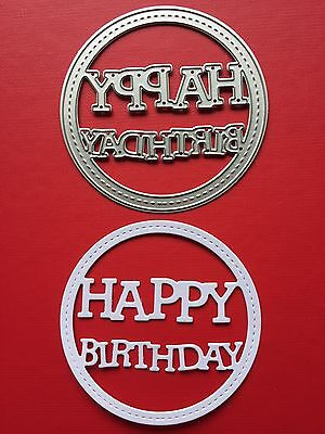 CLASSIC• HAPPY BIRTHDAY STITCHED CIRCLE DIE For Sizzix Or Cuttlebug