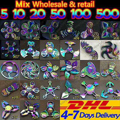 5x10x20x50x 100 pcs Lot Rainbow Tri Hand Finger Spinner Fidget Desk Toy Gyro