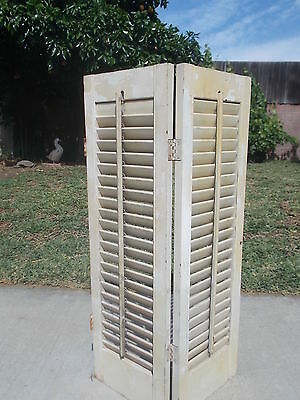 "Vtg.Wood Window Shutter Louvered Two 29""x 9"" Panels Attached White Shabby Decor"