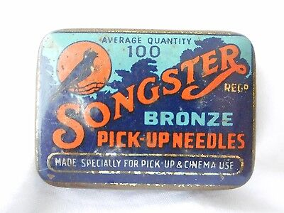 Vintage Songster Bronze Pick Up Needles Tin
