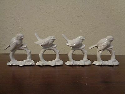 Fitz & Floyd Bird Napkin Ring Holder White Porcelain Set Of 4 Japan
