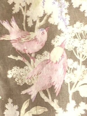 Antique French Toile Fabric Pink Birds Cotton Floral Flowers 19th C