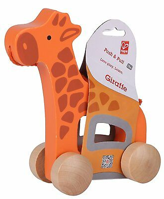 Brand New Hape Push and Pull Giraffe  Wooden Activity Toy  baby infant