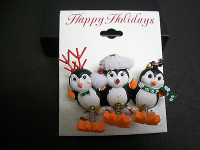 Penguins Christmas Holiday  Dressed Antlers Scarf Santa Lights Pin Brooch NEW