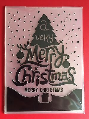 NEW• VERY MERRY CHRISTMAS TREE EMBOSSING FOLDER for Cuttlebug or Sizzix