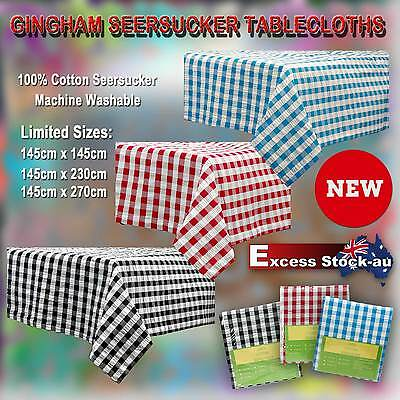 Cotton Gingham Checked Tablecloth Seersucker 100% Cotton