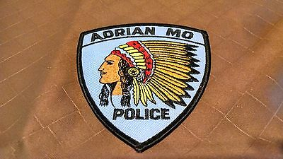 Adrian Missouri Police Patch With Native American Chief Head Iron on or sew.
