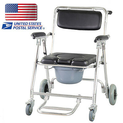 Aluminum Commode Shower Commode Wheelchair Bedside Toilet & Rolling Chair -USA