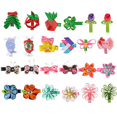"""Small Hair Bows for Girls 24 Pcs 2.5"""" Butterfly Flower Baby Hair Clips"""