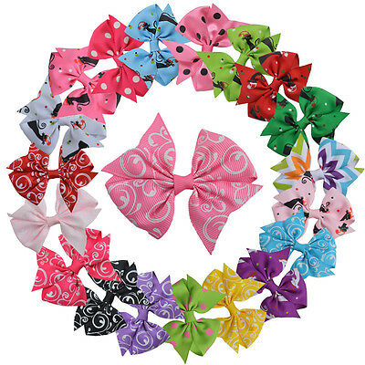 """Baby Girls 3"""" Grosgrain Ribbon Boutique Hair Bows Alligator Clips Pack Of 20 pcs"""