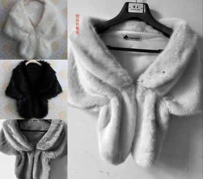Winter Bridal Wedding Shawl Stole Faux Fur Shrug Women Warm Wrap 5 Style LK
