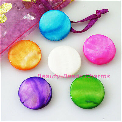 5 Charm Natural Shell Flat Spacer Beads 20mm Purple Pink Orange Blue Green White