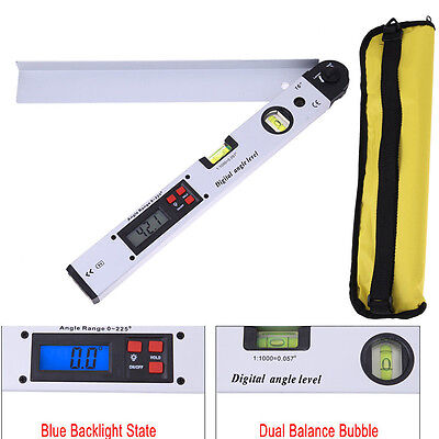 Digital Electronic Protractor Angle Dual Spirit Level Measure Gauge Ruler 400mm