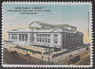 USA Poster stamp: 1930s New Public Library, 5th Avenue, NY - dw655