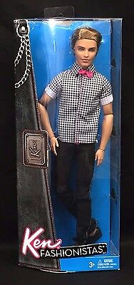Barbie Fashionistas Ken Male Boy Articulated Jointed Doll Shirt Bow 2011 In Box
