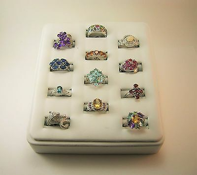 Lot of Twelve  .925 Sterling silver & Natural Gemstone Rings