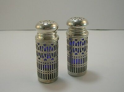 SALT & PEPPER with Cobalt blue liners Silver Plated