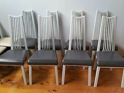 Set of 8 Timber and Leather Dining Chairs Pietro Costantini Italy Brutalist