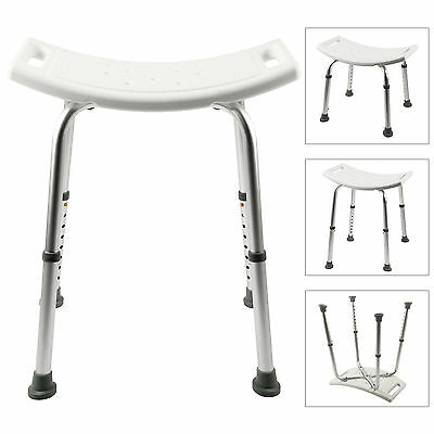 Height Adjustable Portable Shower Stool Bathroom Seat Chair Bath Disability Aid