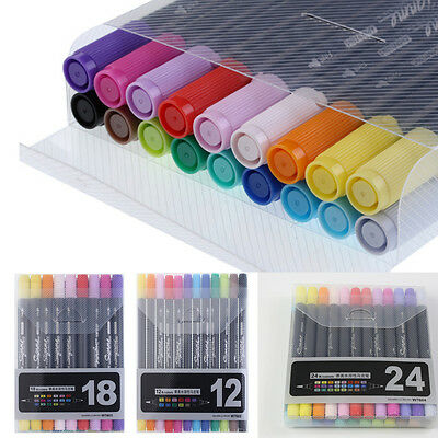 12/18/24 Colors Art Graphic Drawing Twin Tip Brush Sketch Water Color Marker Pen