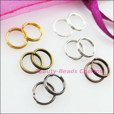 250 New Gold Silver Bronze Copper Black Plated Split Ring Double Connectors 4mm