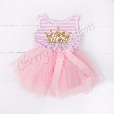 Baby Girls kids Second 2nd Birthday Dress Outfit Tutu Skirt Princess Party gift