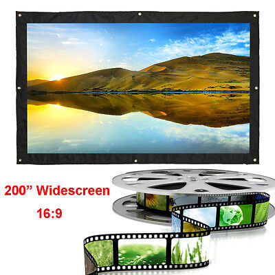 "200"" Inch 16:9 Portable Home Theater HD Projector Projection Screen Curtain"