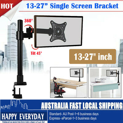 13-27inch Single Screen LCD Monitor Tilt Desk Mount Pole Bracket 1 Arm VESA Home