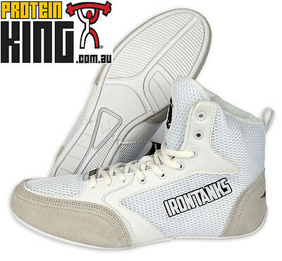Iron Tanks Titan Gym Shoes White Weight Power Lifting Bodybuilding Mma Flat Sole