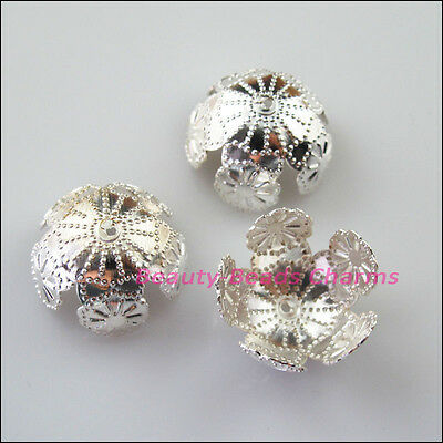 10 New Silver Plated Leaf Star Flower End Bead Caps Connectors 20mm