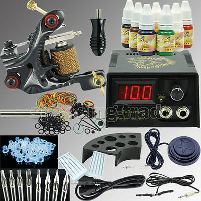 COMPLETE TATTOO KIT 4 Machine Gun Power Supply Color Ink Set Needles ...