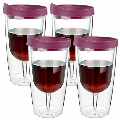 Wine Tumbler Vino Acrylic Merlot Drink Lid Wine 2Go - 10oz, Set of 4