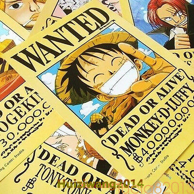 One Piece Wanted Poster 11pcs nami sanji zoro luffy Hat Pirates Ace Robi 42x29cm