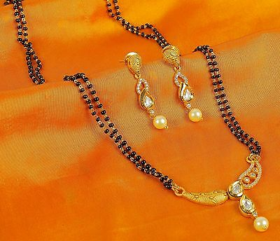 395 Indian Gold Plated Chain Pendant Traditional Bridal Jewelry Mangalsutra Set