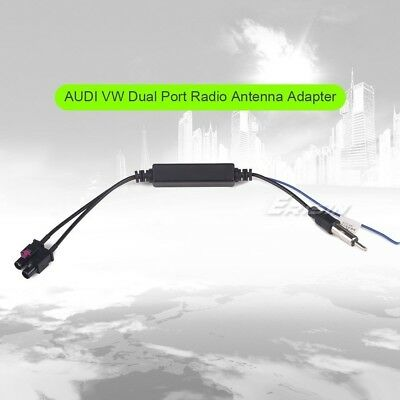 Twin Fakra to Din Radio Arial Antenna Adapter Amplifier for VW AUDI BMW BENZ 068