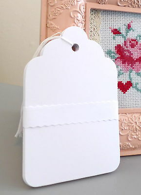 Large White Scallop Gift Tags - 20 & 50 Tag Packs