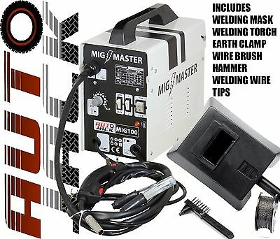 Autojack 100 Amp MIG Welder Gasless No Gas Welding Machine Wire Flux 240v