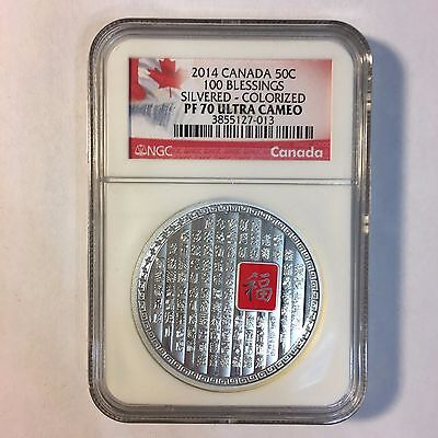 2014 Canada Canadian 50c 100 Blessings Silvered Colorized NGC PF70 Ultra Cameo