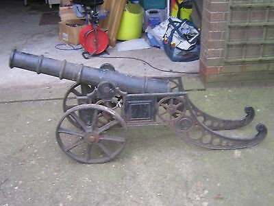 two cast iron fullsize cannons, said to date from 1895 cast in France.