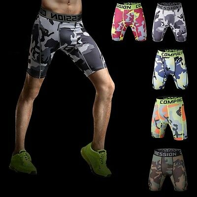 Men Compression Base Layer Camo Pants Leggings Fitness Sports Training Shorts UK