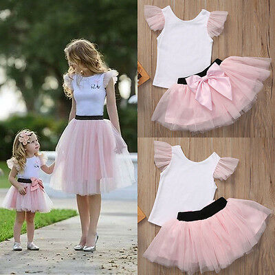 Family Matching Women Baby Girls Kids Outfits Tops T-shirt Skirt Tutu Dress UK