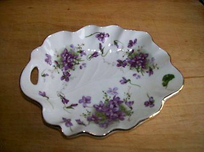 Vintage Hammersley Victorian Violets Scalloped Edged Handled Dish